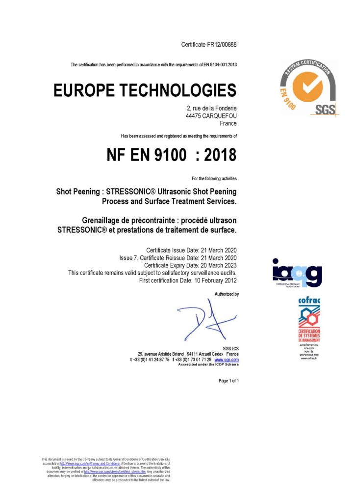 2020 Certificat EN 9100 EUROPE TECHNOLOGIES