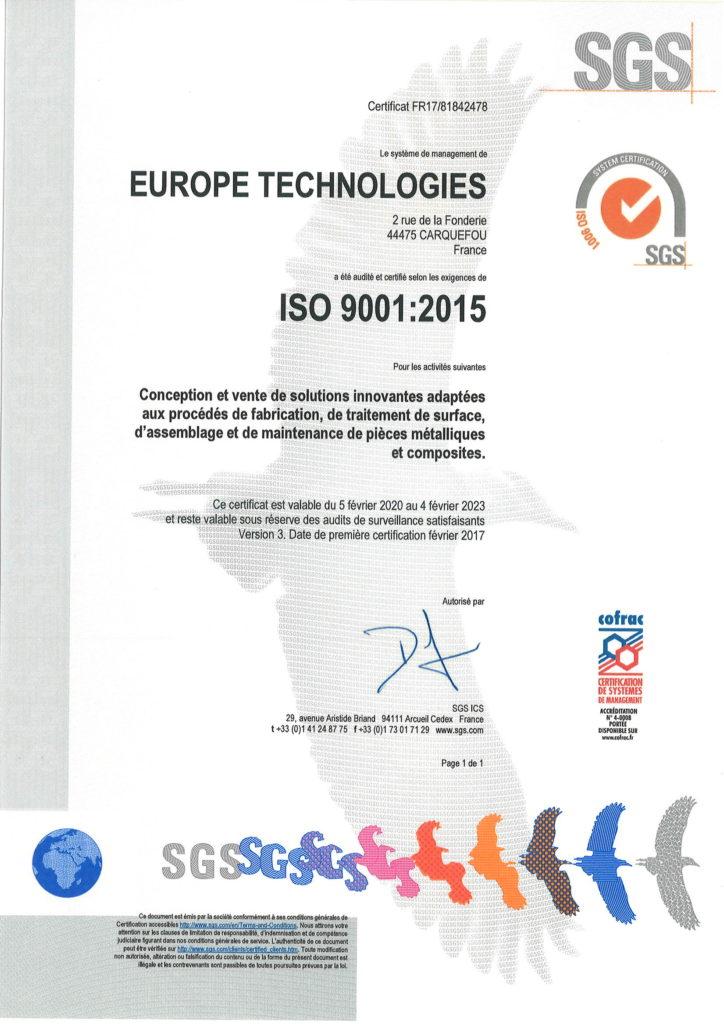 2020 Certificat ISO 9001 Europe Techn - Francais